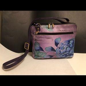 Anna by Anuschka crossbody handbag. Artwork. GUC.